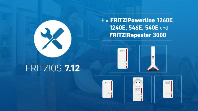 Fritz!OS 7.12 – Neustes Update jetzt auch für FRITZ!Powerline 1260E,1240E, 546E und FRITZ!Repeater 3000