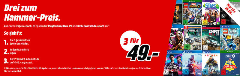 3 Spiele für 49 Euro bei MediaMarkt - PlayStation 4, Xbox One, Windows PC, Nintendo Switch
