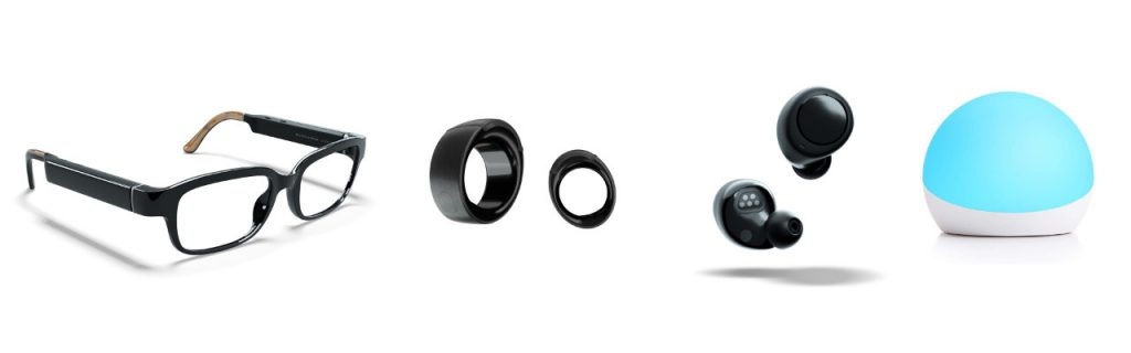 Amazon Echo Frames (Brille), Echo Loop (Ring), Echo Buds (kabellose In-Ears), Echo Glow (Licht für Kids)
