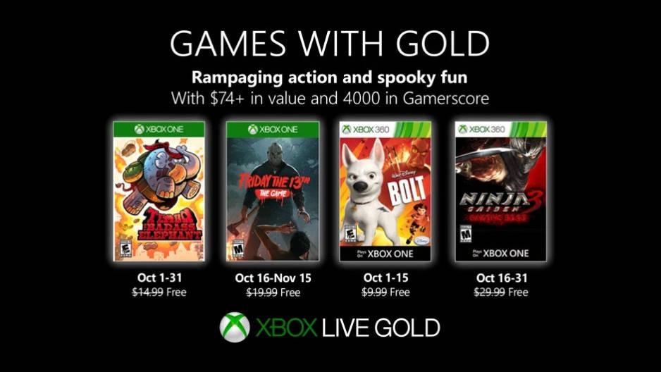 Monatlich kostenlose Spiele mit Xbox Live Gold und Xbox Game Pass Ultimate - Oktober 2019