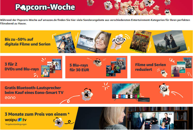 Amazon Popcorn-Woche - Angebote in Sachen Heimkino & Entertainment