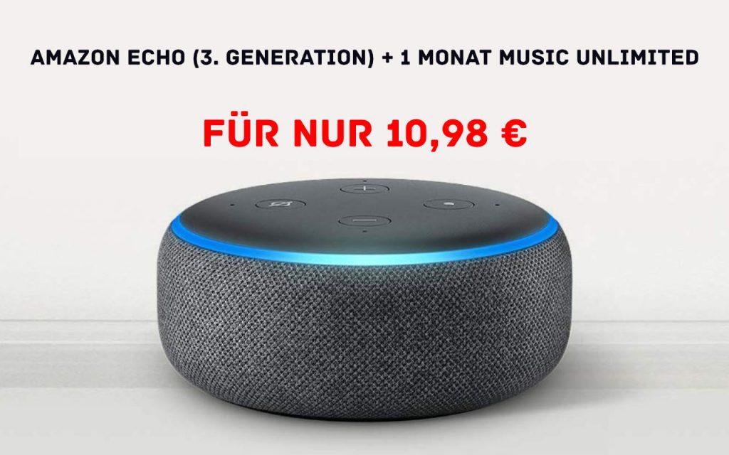 Amazon Echo Dot nun für 10,98 € mit einem Monat Music Unlimited