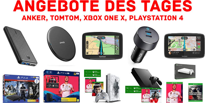 Technik - Angebote des Tages bei Amazon - Anker, TomTom, Konsolen von Microsoft und Sony