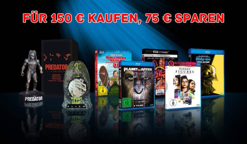 Amazon - 75 € Rabatt beim Kauf von Filmen für 150 Euro oder mehr - große Auswahl