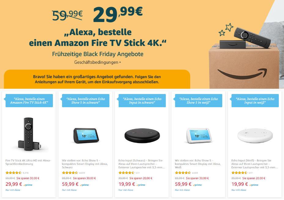 Fire TV Stick 4K für unter 30 Euro und Echo Show 5 für unter 60 Euro