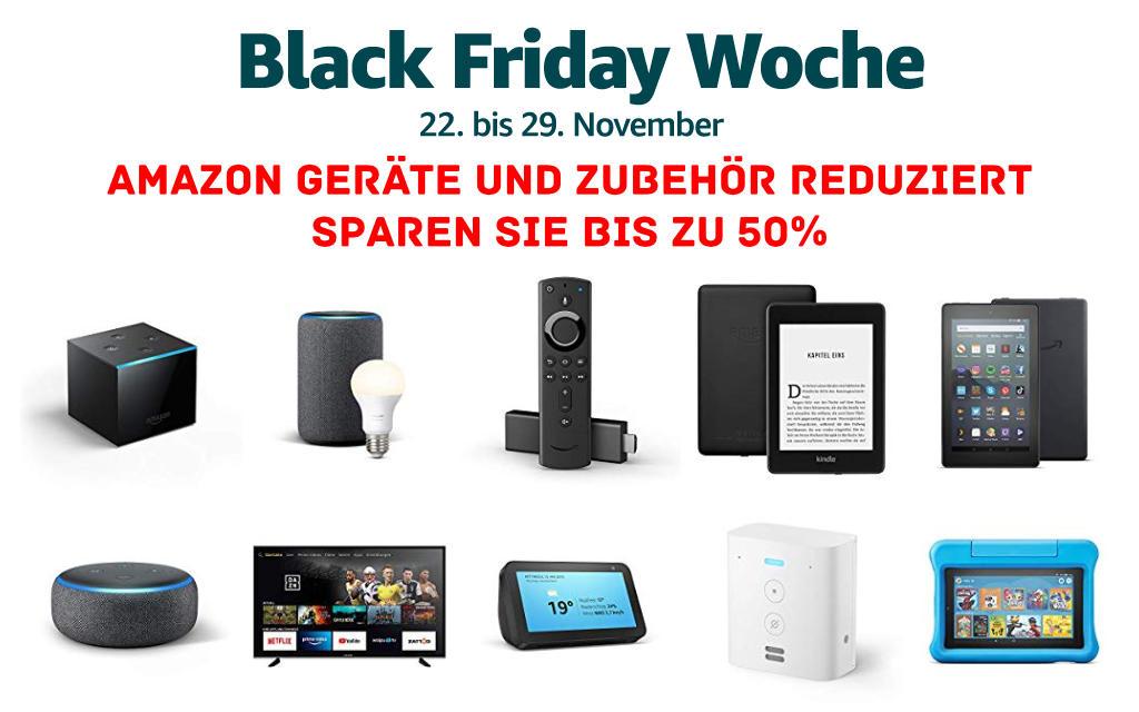 Black Friday Woche 2019 - Fire TV Stick (4K), Fire TV Cube, Echo, Echo Show, Echo Plus, Kindle eReader, Fire Tablets und mehr reduziert