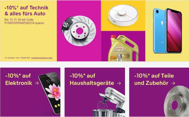 Technik-Schnäppchen: 10% Rabatt mit dem Gutschein POWERSPAREN2019 bei eBay