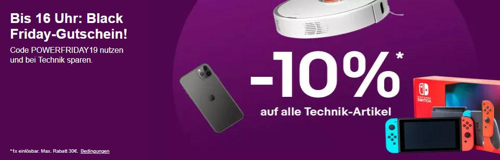 Technik-Schnäppchen: 10% Rabatt mit dem Gutschein POWERFRIDAY19 bei eBay