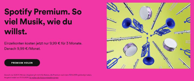 Spotify Premium - 3 Monate Premium zum Preis von einem Monat