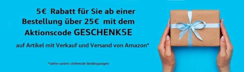 Amazon 5 Euro Gutschein / Aktionscode für Bestellungen ab 25 Euro - Oktober 2020
