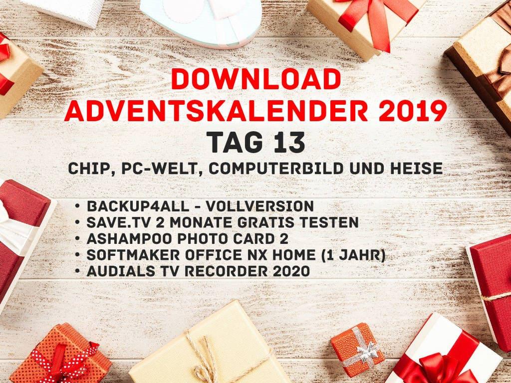 Chip, Heise, PC-Welt und Computerbild - Vollversionen - Download Adventskalender 2019