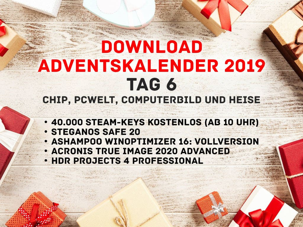 Adventskalender 2019 - Downloads bei Chip.de, PC-Welt, ComputerBild und Heise