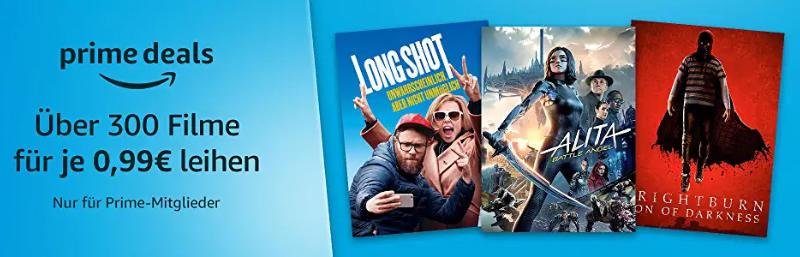Über 300 Filme für je 99 Cent ausleihen - Prime Deals Weihnachten 2019 - Heimkino Schnäppchen