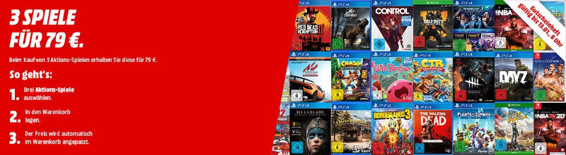 3 Spiele für 79 Euro - Playstation 4, Xbox One, PC, Nintendo Switch
