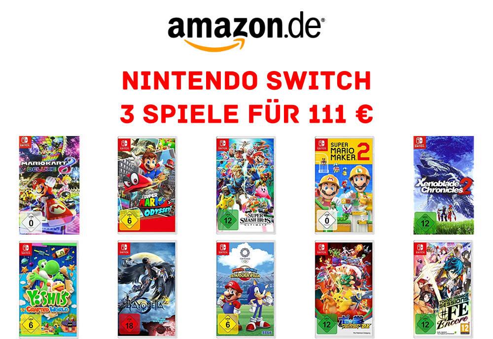 3 Nintendo Switch Spiele für 111 Euro