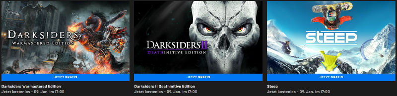 Darksiders Warmastered Edition, Darksiders II Deathinitive Edition und Steep kostenlos für PC