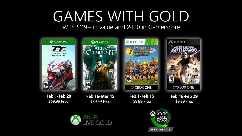 Monatlich kostenlose Spiele mit Xbox Live Gold und Xbox Game Pass Ultimate - Februar 2020