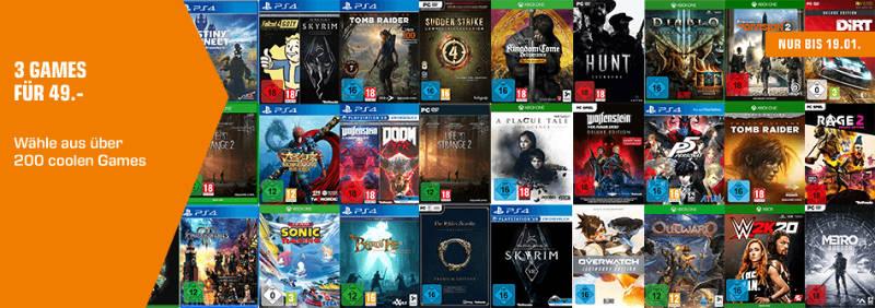 Drei Spiele für 49 Euro bei Saturn - Xbox One, PS4, Switch und PC