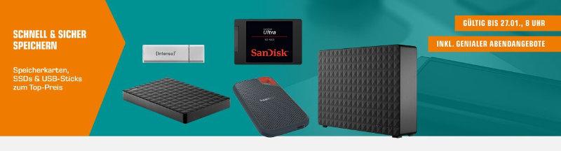 Saturn - Speichermedien günstiger - SSDs, Speicherkarten, microSD, USB-Sticks, externe Festplatten und mehr