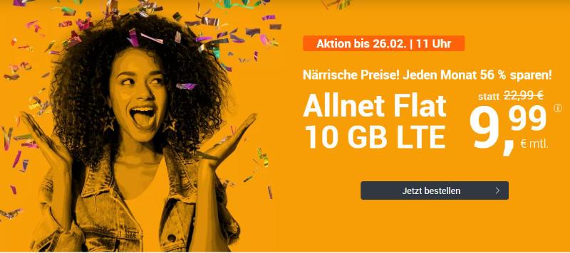 WinSim - günstige Allnet-Flat mit Telefonie, SMS, 10 GB Datenvolumen LTE inkl. EU Roaming