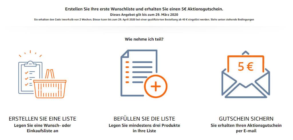 Amazon 5 Euro Gutschein im März 2020 - Erstmalig eine Wunschliste, Wunschzettel oder Einkaufsliste anlegen