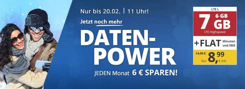 PremiumSIM- günstige Allnet-Flat mit Telefonie, SMS, 7 GB Datenvolumen LTE inkl. EU Roaming