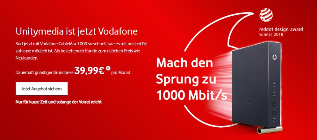 Unitymedia ist jetzt Vodafone - neuer CableMax 1000 Tarif