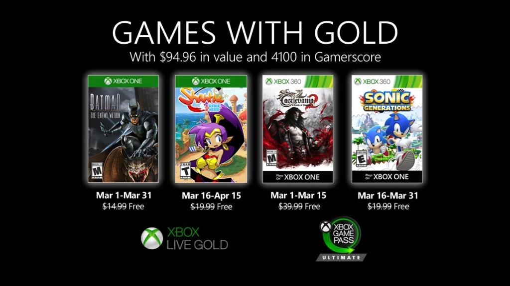 Monatlich kostenlose Spiele mit Xbox Live Gold und Xbox Game Pass Ultimate - März 2020