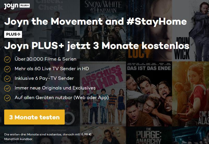 Joyn Plus+ jetzt 3 Monate kostenlos testen - Live-TV und Filme und Serien on Demand