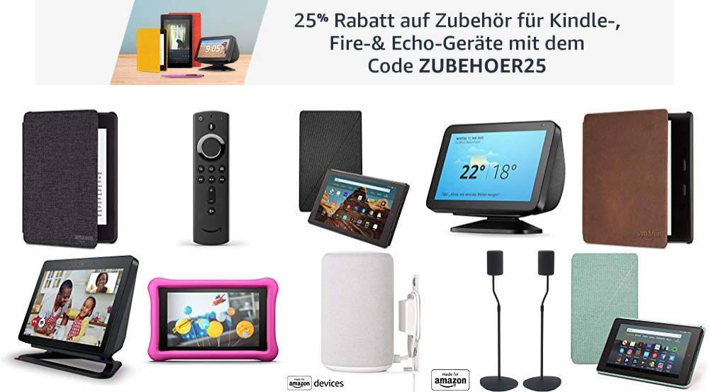 Amazon Gutschein - ZUBEHOER25 - März 2020- 25% Rabatt auf Zubehör für Amazon Geräte wie Fire TV, Echo oder Kindle Paperwhite