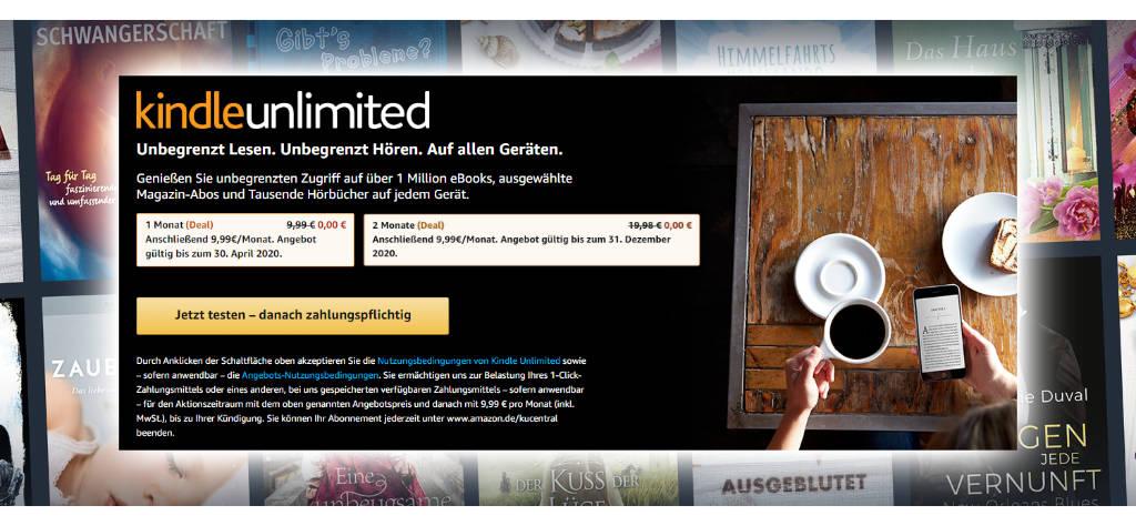 Kindle Unlimited - 2 Monate gratis - auch für Bestandskunden ohne laufendes Abo