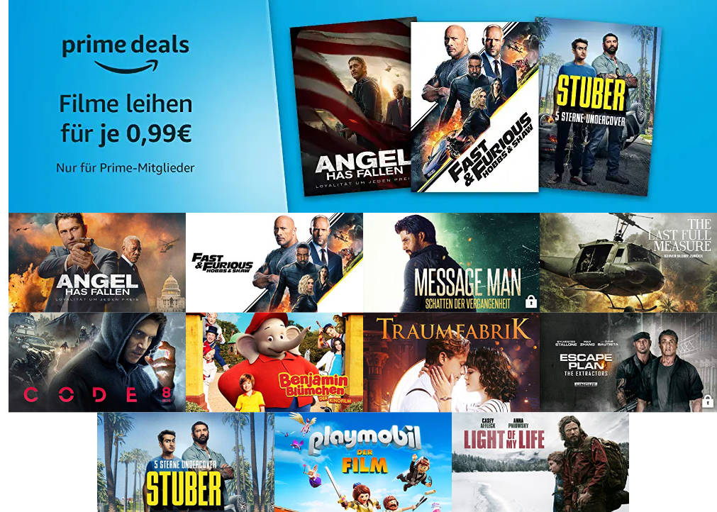 Prime Deals - 12 Filme für je 99 Cent leihen - März 2020