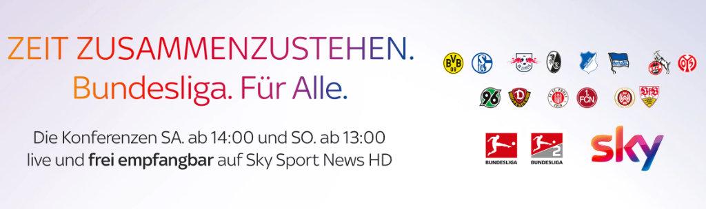 Sky kostenloser Stream und Übertragung im Free TV - Bundesliga Konferenzen