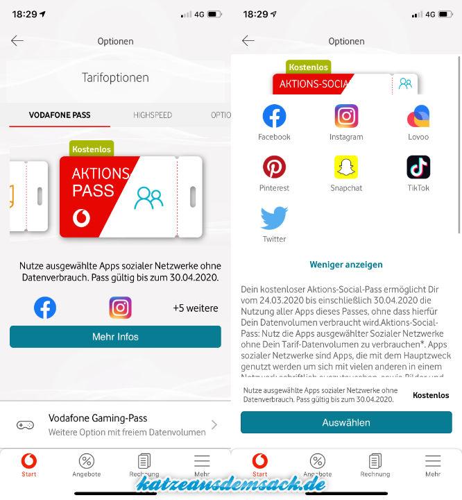 Aktions-Social-Pass - Vodafone, Datenvolumen, kostenlos