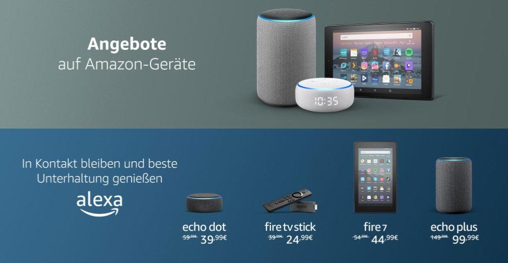 Fire TV Stick, Echo, Echo Dot (mit Uhr), Echo Show 5, Ring, Blink und mehr reduziert
