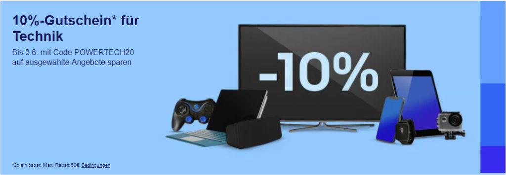 10% eBay Gutschein Mai 2020 - Powertech20 - Computer, Smartphones, Tablet, Gaming und mehr