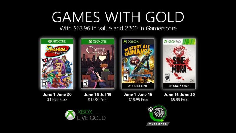 Monatlich kostenlose Spiele mit Xbox Live Gold und Xbox Game Pass Ultimate - Juni  2020