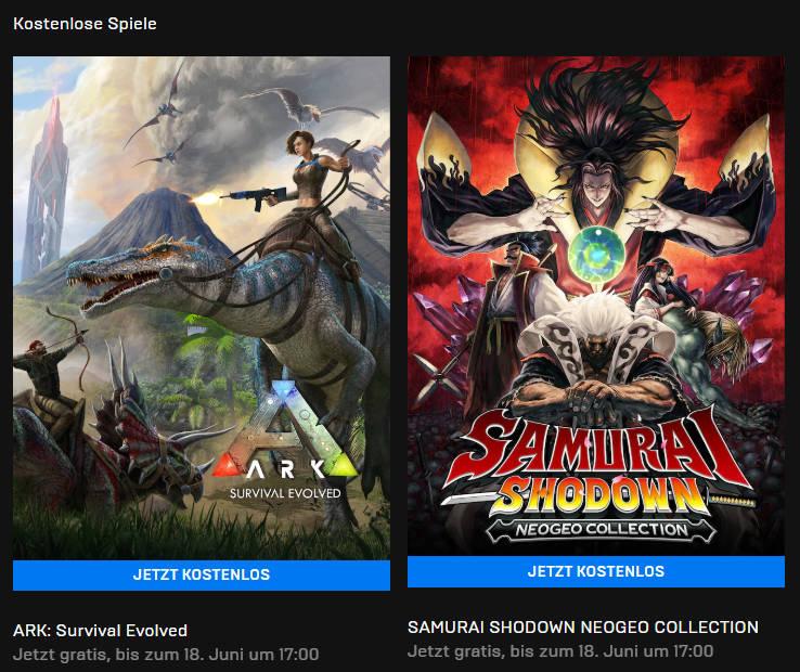 ARK: Survival Evolved und Samurai Shodown (Neo Geo Collection) kostenlose PC-Spiele
