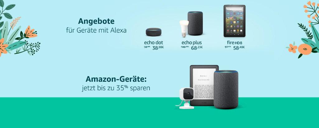 Amazon Produkte bis zu 35% Rabatt für Echo, Echo Dot, Echo Plus und Echo Studio mit Alexa, Fire Tablets und Kindle eReader