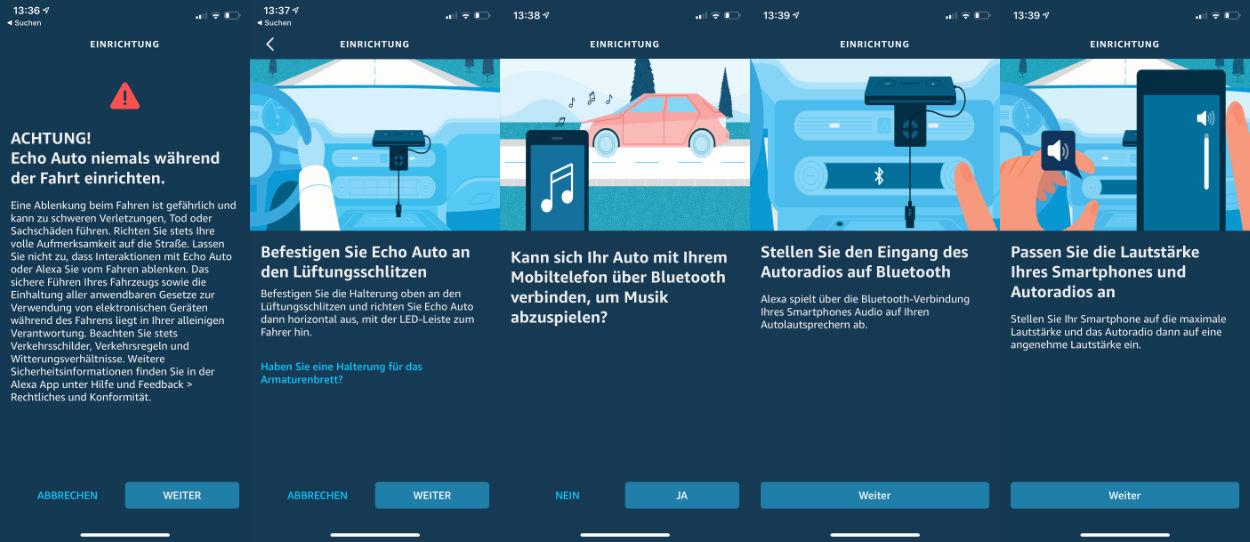 Einrichtung Echo Auto über die Alexa App - Verbindung, Testton, Fehlersuche Lautstärke