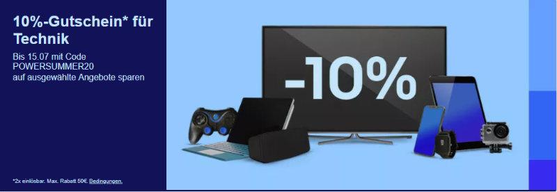 10% eBay Gutschein Juli 2020 - Powersummer20- Computer, Smartphones, Tablet, Gaming und mehr