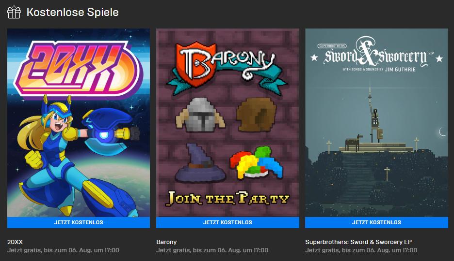 Epic Games Store: 20XX, Barony und Superbrothers: Sword & Sworcery EP kostenlos für Euren PC