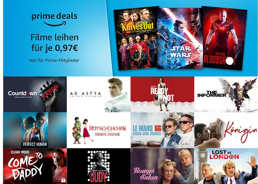 Prime Deals - 30 Filme für je 97 statt 99 Cent leihen - Juli 2020