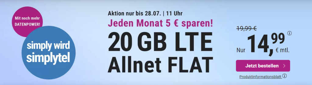 simplytel - günstige Allnet-Flat mit Telefonie, SMS, 20 GB Datenvolumen LTE inkl. EU Roaming