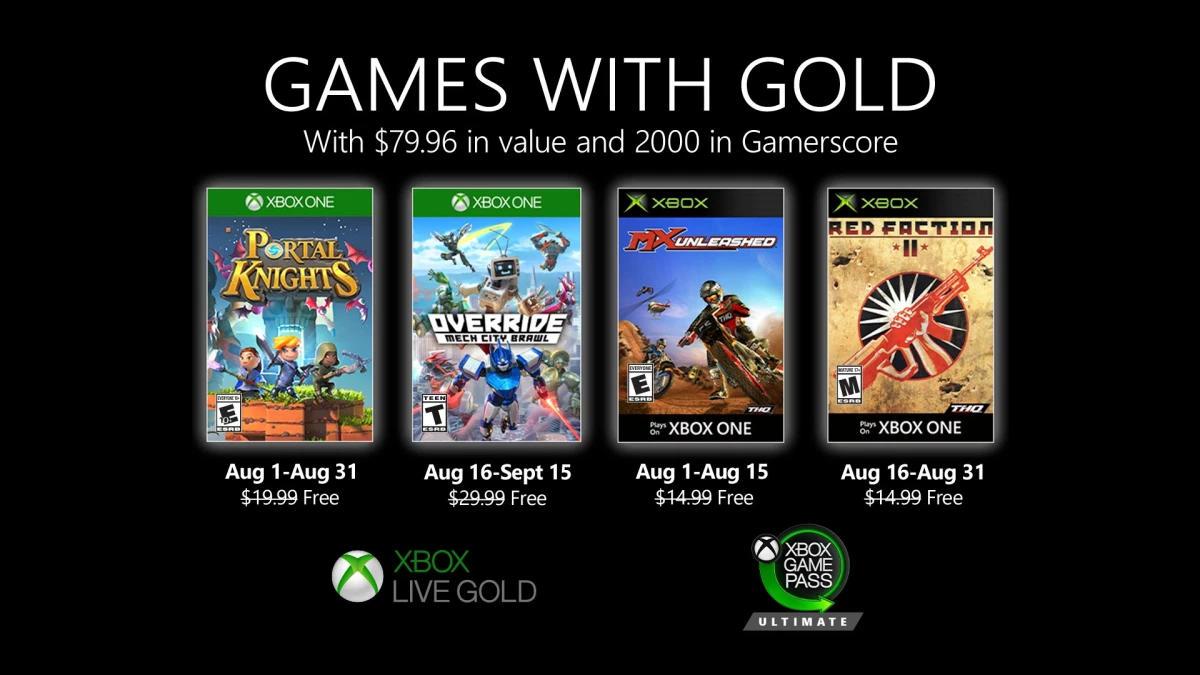 Monatlich kostenlose Spiele mit Xbox Live Gold und Xbox Game Pass Ultimate - August 2020