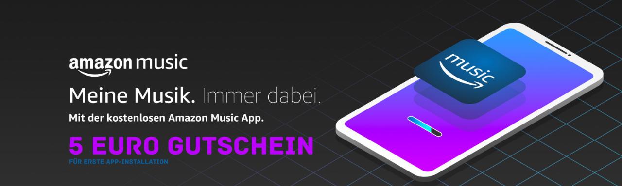 Amazon Gutschein - 5 Euro Aktionsgutschein für erste Nutzung der Amazon Music-App