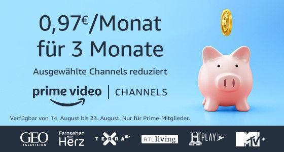 Amazon Prime Video Channels für 97 Cent - GEO Television, Fernsehen mit Herz, Terra X, RTL Living, HistoryPlay und MTV+