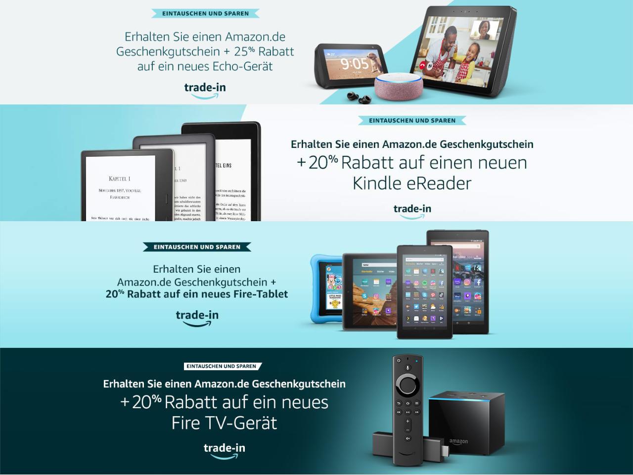 Amazon Echo, Fire TV, Fire Tablet, Kindle eReader - Trade-in - Eintauschen und ein neues Amazon-Gerät erhalten