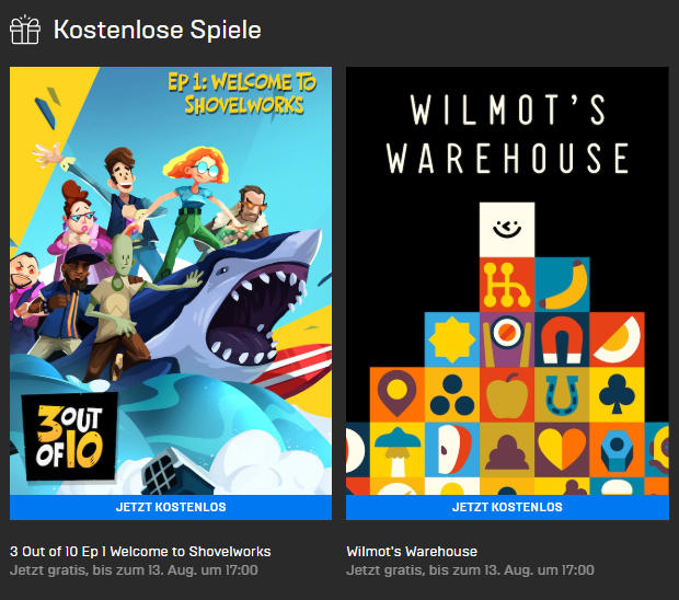 3 out of 10, EP 1: Welcome To Shovelworks (Win) und Wilmot's Warehouse (Win/Mac) gratis