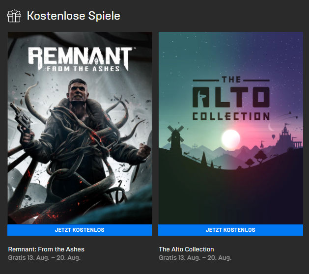 Epic Games Store: Remnant: From the Ashes (Win) und The Alto Collection (Win) kostenlos bis zum 20.08.